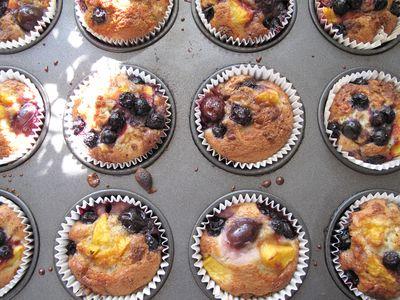 Summer fruit & white chocolate muffins