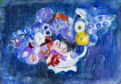 Anne Redpath, Summer Posy on Blue