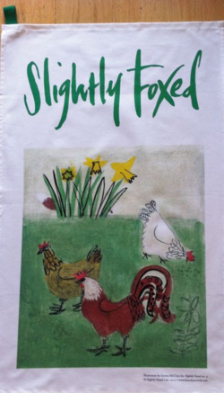 Spring chickens tea towel
