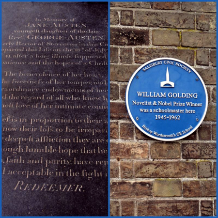 Jane Austen's grave, Winchester; William Golding plaque, Salisbury