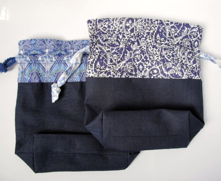 Lined drawstring project bags