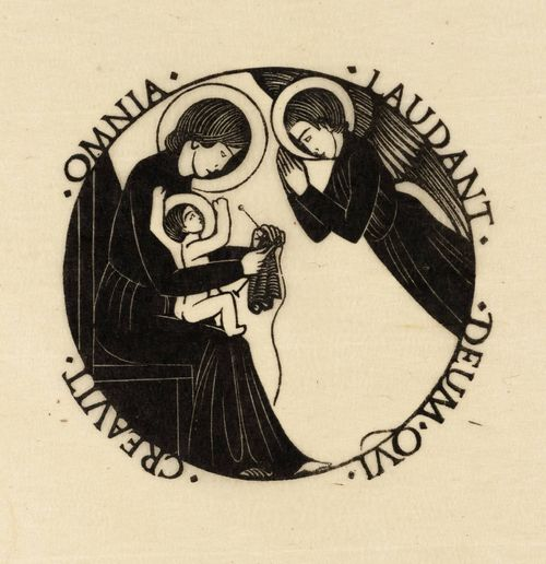 Eric Gill, Madonna and Child with Angel