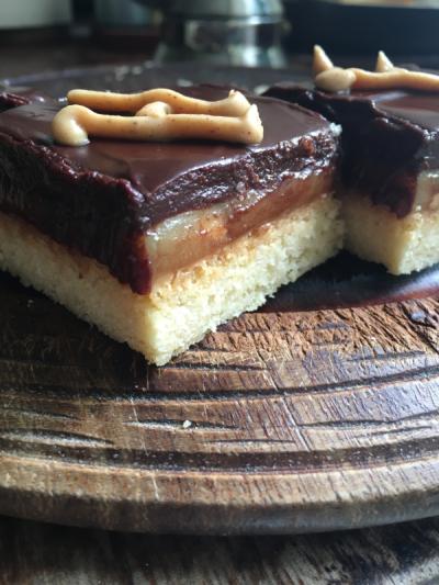 Chocolate, peanut, & salted caramel squares