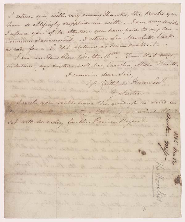 Jane Austen letter to John Murray