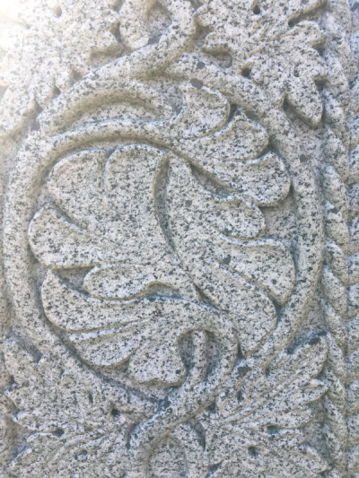 Detail, gravestone of Andrew Lang, St. Andrews Cathedral